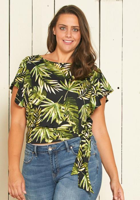 Asoph Plus Size Leaf Print Top