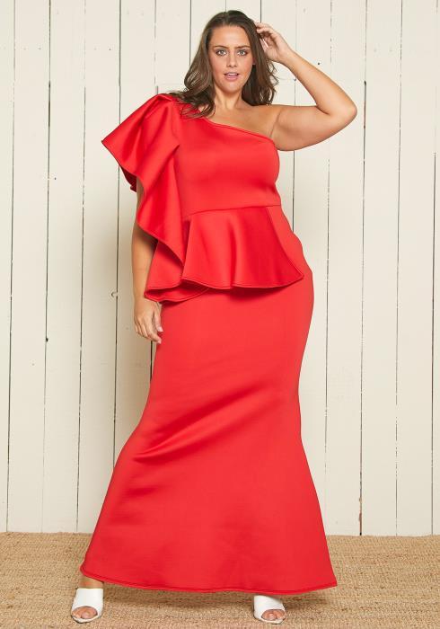 Asoph Plus Size One Shoulder Peplum Evening Gown