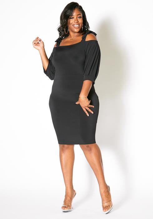 Asoph Plus Size Tie Shoulder Bodycon Dress