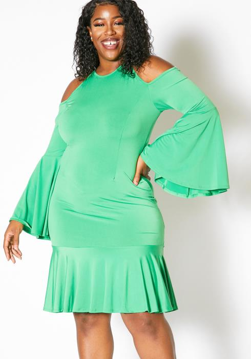 Asoph Plus Size Open Shoulder Flared Hem Dress