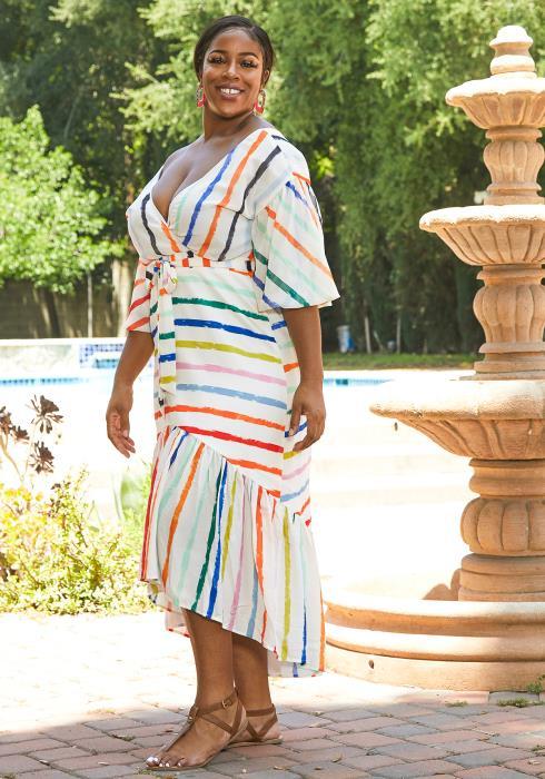 Asoph Plus Size Multi Color Stripe Mermaid Dress