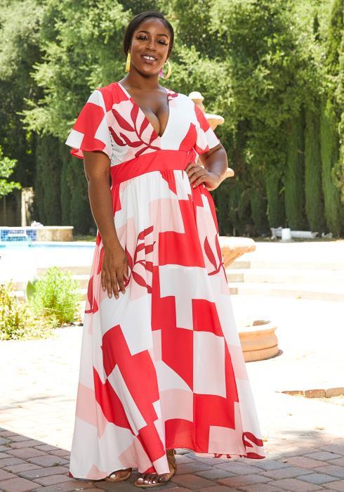 Asoph Plus Size Color Block Maxi Dress
