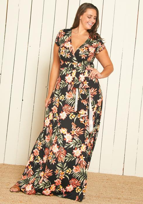 Asoph Plus Size Floral Print Slit Maxi Dress