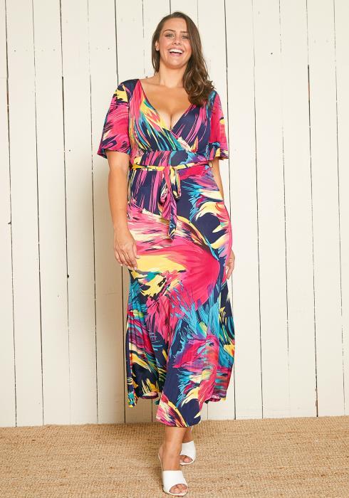 Asoph Plus Size Multi Color Brush Stroke Maxi Dress