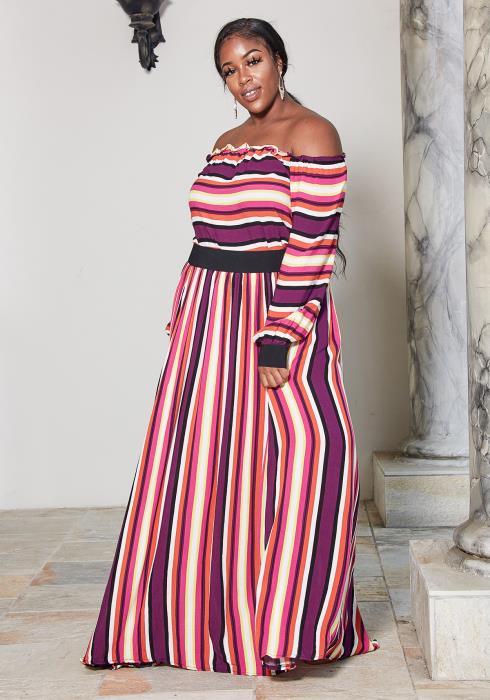 Asoph Plus Size Multi Color Stripe Top & Maxi Skirt Set