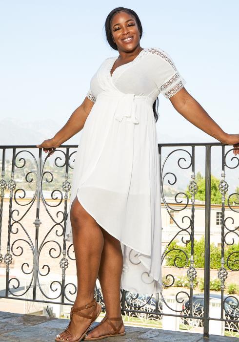Asoph Plus Size Lattice Trim Wrap Dress