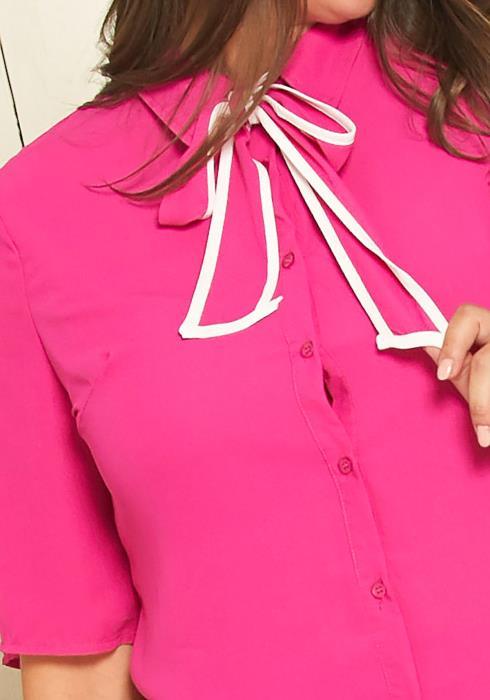Asoph Plus Size Dress Shirt with Contrast Neck Tie