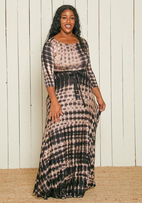 Asoph Plus Size Multi Print Maxi Dress