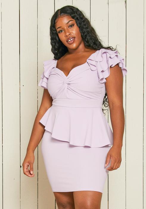 Asoph Plus Size Ruffle Peplum Dress