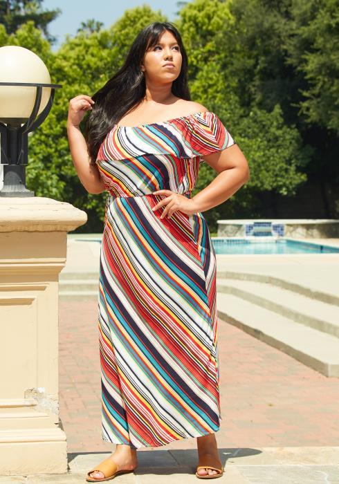 Asoph Plus Size Multi Stripe Maxi Dress