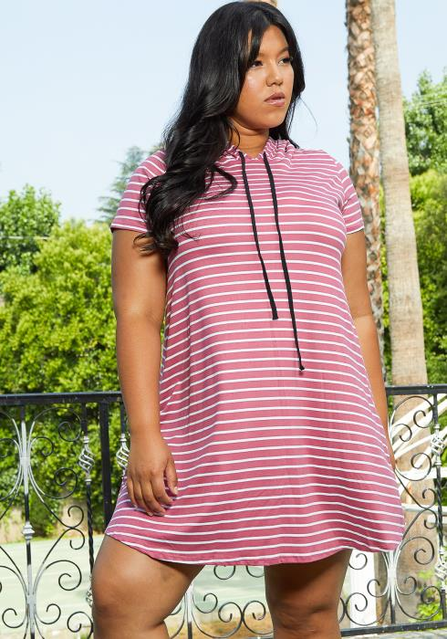Asoph Plus Size Casual Hooded Tunic Dress