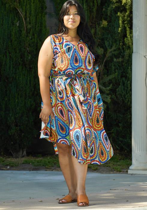 Asoph Plus Size Paisley Print Dres