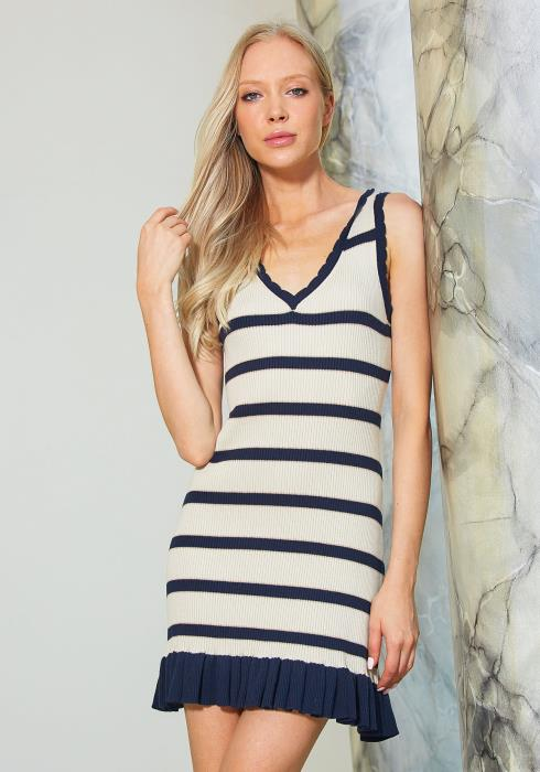 Tandy Knit V-Neck Ruffle Hem Stripe Dress