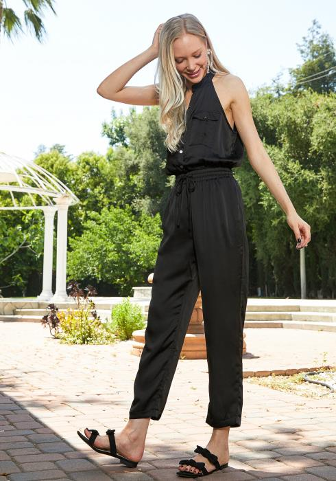 Tansy Button Up Halter Jumpsuit