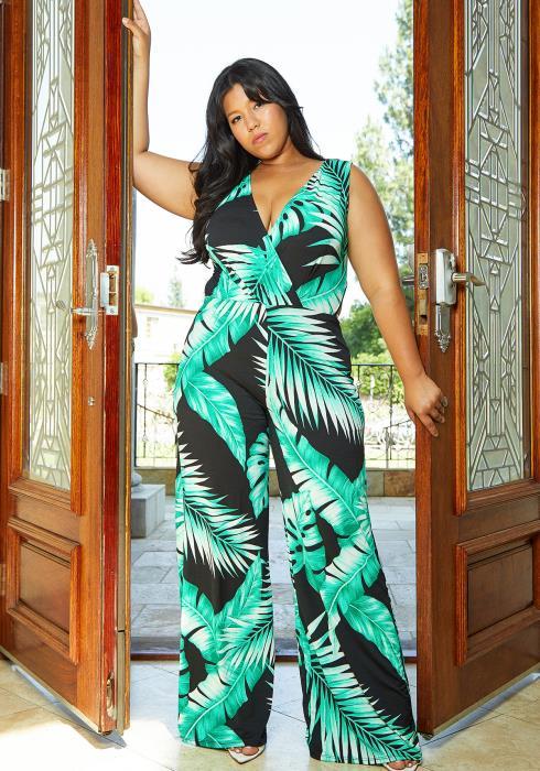 Asoph Plus Size Tropical Sleeveless Jumpsuit