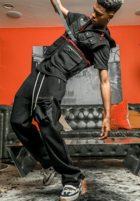 Konus Sweatpants with Nylon Cargo Pocket