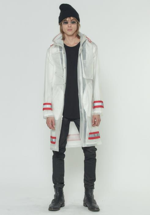 Konus Translucent Hooded Jacket with Red and Reflective Tape