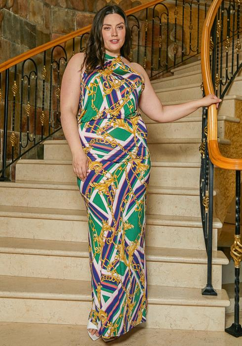 Asoph Plus Size Haltered Chain Print Maxi Dress