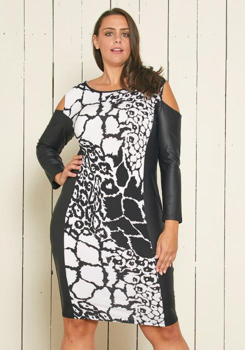 Plus Size Crackle Print Dress