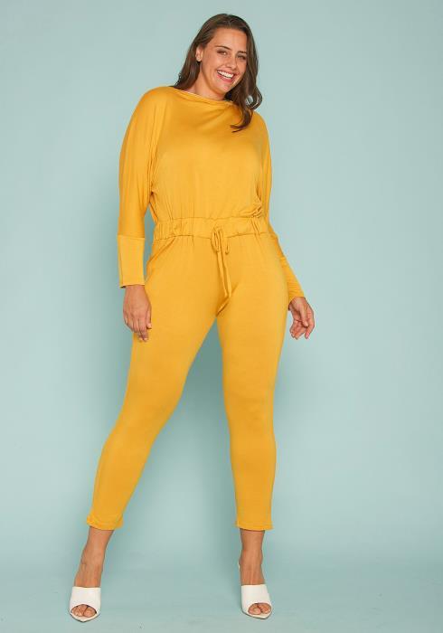 Asoph Plus Size Zipper Neck Jumpsuit