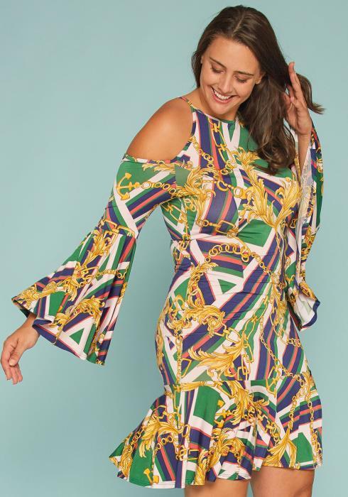 Asoph Plus Size Printed Cold Shoulder Ruffle Dress