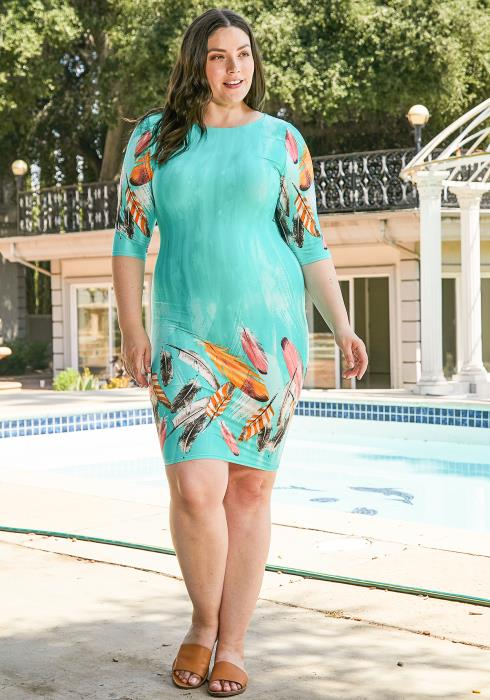 Asoph Plus Size Feather Print Bodycon Dress