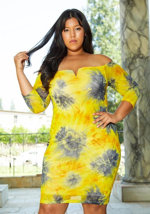 Asoph Plus Size Tie Dye Floral Dress