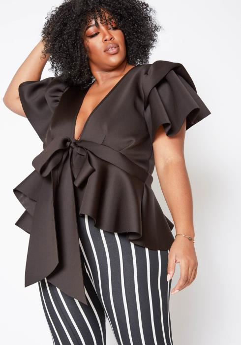 Asoph Plus Size Womens Knot Front Ruffle Effect Blouse