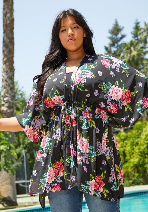 Asoph Plus Size Floral Kimono Cardigan