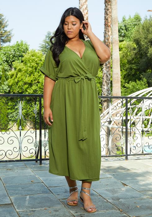 Asoph Plus Size Casual Wrap Dress