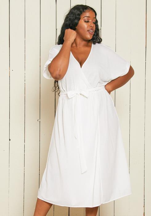 Asoph Plus Size Casual Wrap Dress