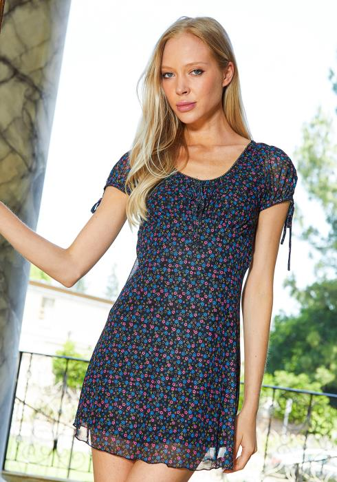 Tansy Ditsy Floral Chiffon Mini Dress