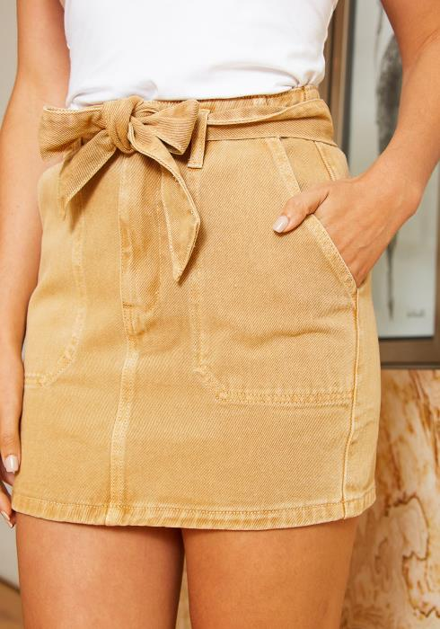 Tansy Womens Khaki Denim Skirt