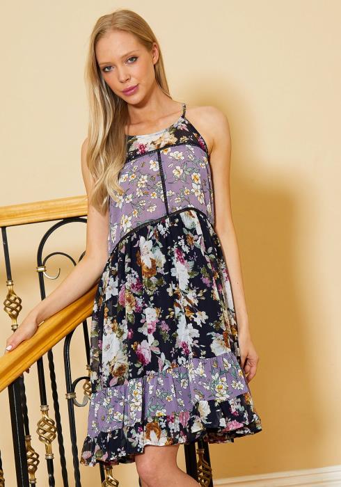 Tansy Multi Print Flared Sleeveless Dress