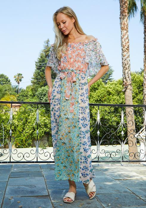 Tansy Multi Floral Print Chiffon Maxi Dress