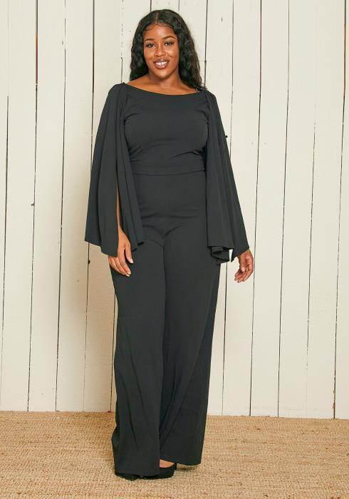 Asoph Plus Size Cape Sleeve Jumpsuit