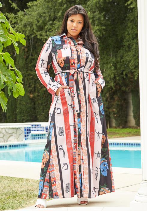 Asoph Plus Size Ethnic Print Maxi Shirt Dress