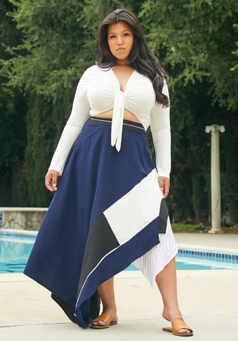 Asoph Plus Size Multi Maxi Skirt