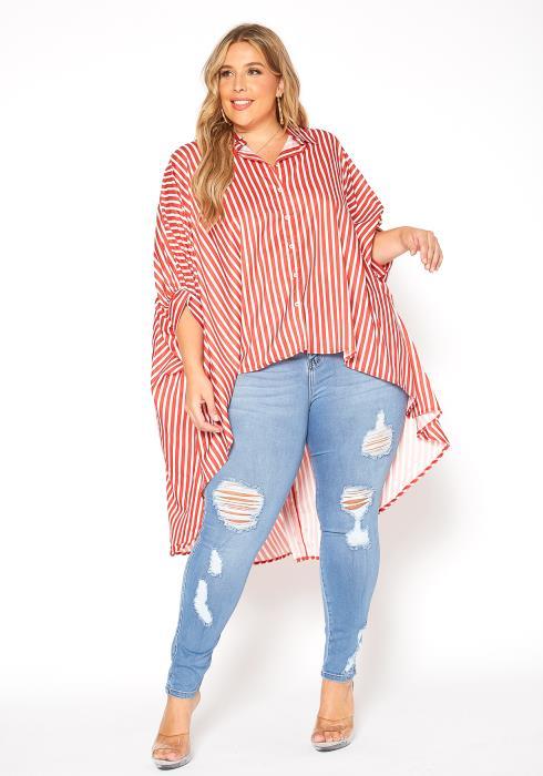 Asoph Plus Size Stripe Hi Lo Shirt