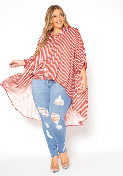 Asoph Plus Size Red Stripe Print High Low Shirt