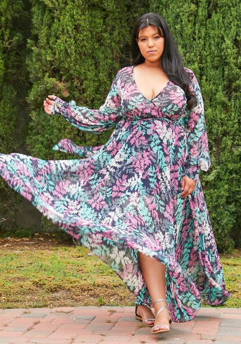 Asoph Plus Size Maxi Chiffon Dress