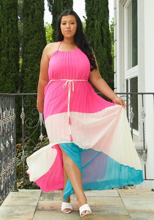 Asoph Plus Size Pleated Hi Lo Dress