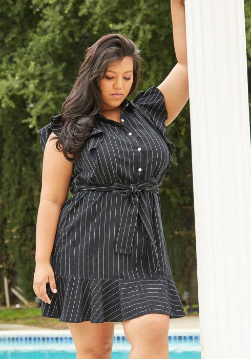 Asoph Plus Size Stripe Flared Dress