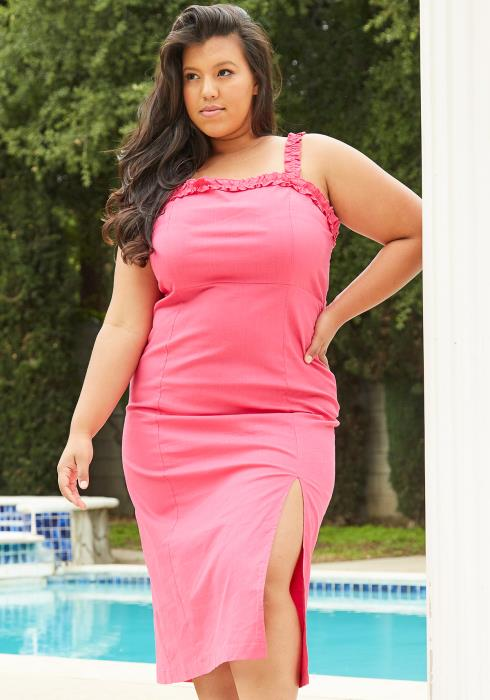 Asoph Plus Size Slit Hem Midi Dress