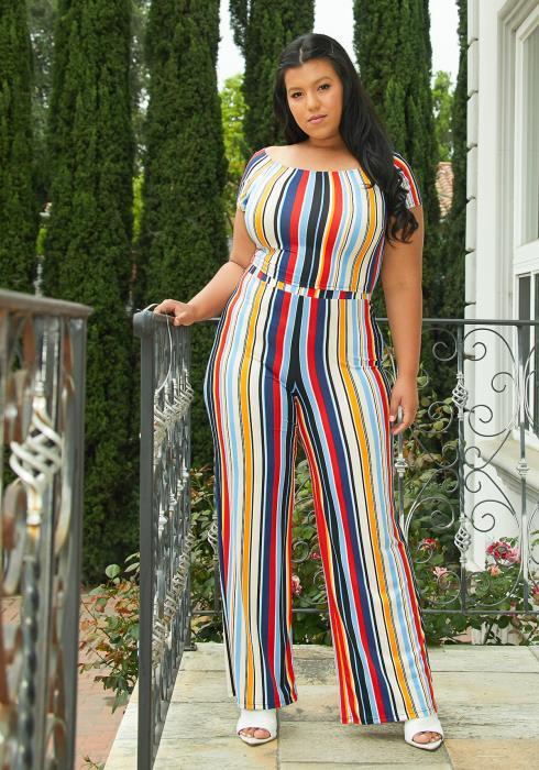 Asoph Plus Size Multi Stripe Crop Top Pants Set