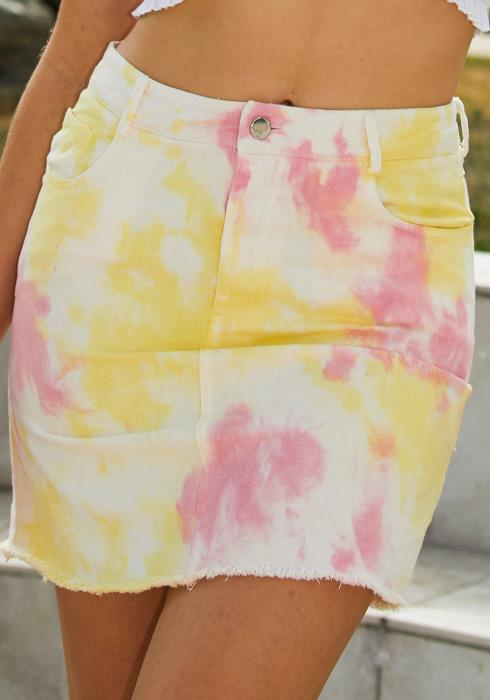 Tansy Tie Dye Denim Mini Skirt