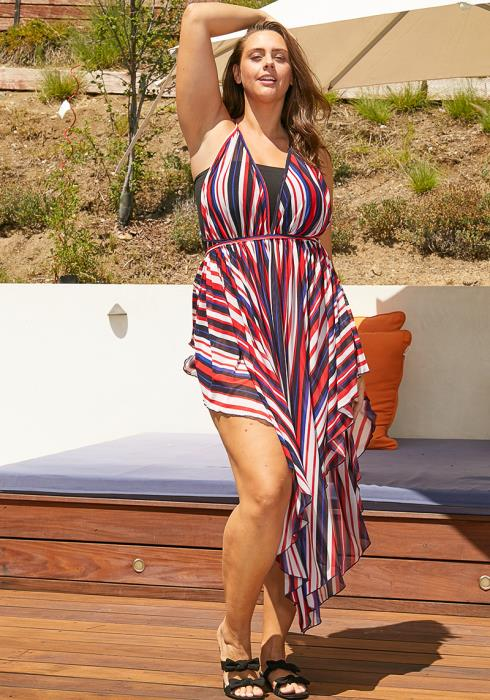 Asoph Plus Size 4th of July Cover Up Dress