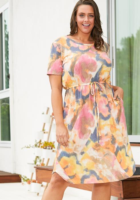 Asoph Plus Size Tie Dye Midi Dress