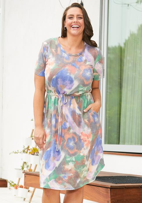 Asoph Plus Size Tie Dye Midi Dress