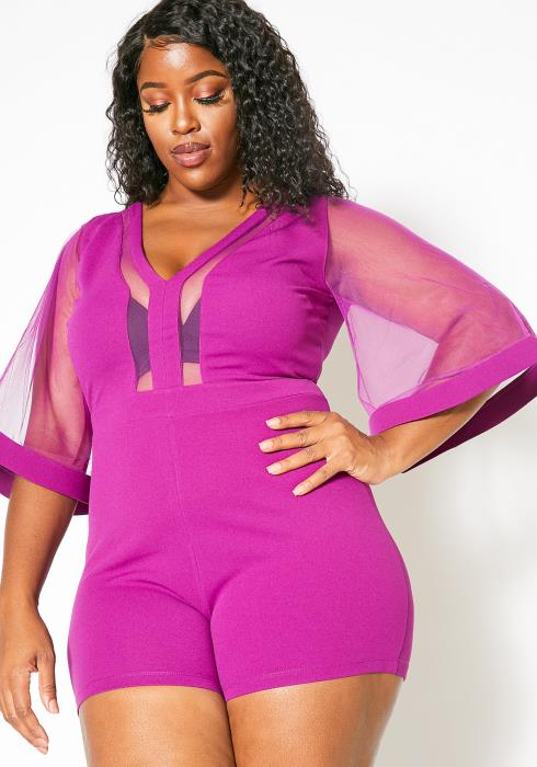 Asoph Plus Size Womens Sexy Mesh Contrast Romper